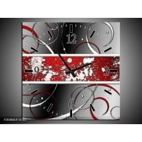 Wandklok op Canvas Modern | Kleur: Grijs, Rood, Zwart | F004860C