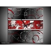 Wandklok op Canvas Modern | Kleur: Rood, Grijs, Wit | F004865C