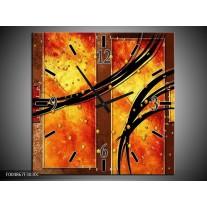 Wandklok op Canvas Modern | Kleur: Geel, Bruin, Zwart | F004867C