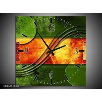 Wandklok op Canvas Modern | Kleur: Oranje, Geel, Groen | F004870C