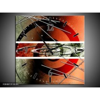 Wandklok op Canvas Modern | Kleur: Rood, Grijs, Wit | F004872C