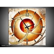 Wandklok op Canvas Modern | Kleur: Wit, Oranje | F004877C
