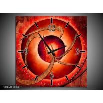 Wandklok op Canvas Modern   Kleur: Rood, Bruin   F004878C