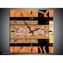 Wandklok op Canvas Modern | Kleur: Geel, Bruin, Zwart | F004880C