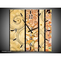 Wandklok op Canvas Modern   Kleur: Geel, Bruin, Zwart   F004883C