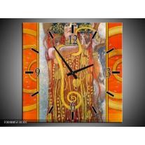 Wandklok op Canvas Modern   Kleur: Geel, Bruin, Zwart   F004885C