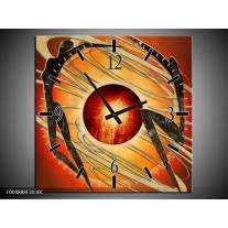 Wandklok op Canvas Modern | Kleur: Bruin, Oranje, Zwart | F004888C