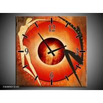 Wandklok op Canvas Modern | Kleur: Bruin, Oranje, Zwart | F004890C