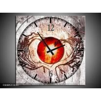 Wandklok op Canvas Modern | Kleur: Grijs, Wit, Oranje | F004892C