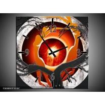 Wandklok op Canvas Modern | Kleur: Grijs, Wit, Oranje | F004893C