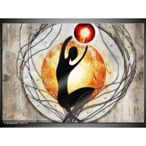 Foto canvas schilderij Modern | Oranje, Grijs, Zwart