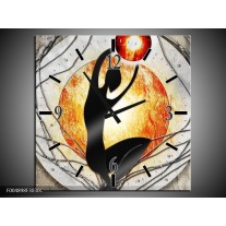 Wandklok op Canvas Modern | Kleur: Oranje, Grijs, Zwart | F004898C