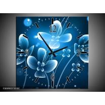 Wandklok op Canvas Bloem | Kleur: Blauw, Wit | F004901C