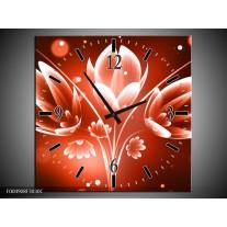Wandklok op Canvas Bloem   Kleur: Rood, Wit   F004908C