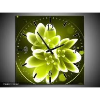 Wandklok op Canvas Bloem | Kleur: Groen, Wit | F004911C