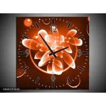 Wandklok op Canvas Bloem | Kleur: Oranje, Bruin, Wit | F004912C