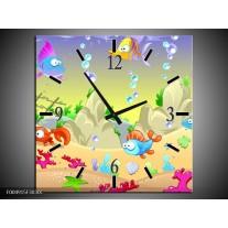 Wandklok op Canvas Sprookje | Kleur: Groen, Oranje, Paars | F004915C