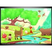Foto canvas schilderij Sprookje | Groen, Oranje, Paars