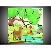 Wandklok op Canvas Sprookje | Kleur: Groen, Oranje, Paars | F004918C