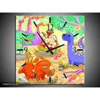 Wandklok op Canvas Sprookje | Kleur: Groen, Roze, Paars | F004922C