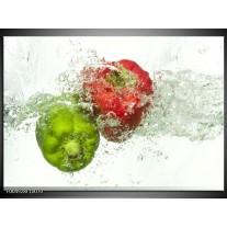 Foto canvas schilderij Paprika   Groen, Rood, Wit
