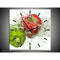 Wandklok op Canvas Paprika   Kleur: Groen, Rood, Wit   F004928C