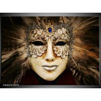 Foto canvas schilderij Masker | Bruin, Wit, Zwart