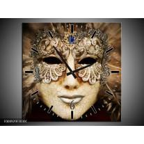 Wandklok op Canvas Masker | Kleur: Bruin, Wit, Zwart | F004929C