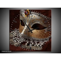 Wandklok op Canvas Masker | Kleur: Bruin, Wit, Zwart | F004930C