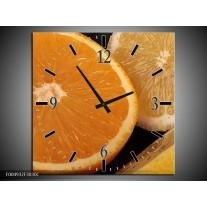 Wandklok op Canvas Keuken | Kleur: Geel, Oranje, Bruin | F004932C