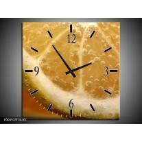 Wandklok op Canvas Keuken | Kleur: Geel, Oranje, Bruin | F004933C