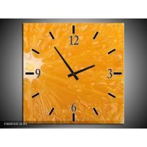 Wandklok op Canvas Keuken   Kleur: Geel, Oranje, Bruin   F004934C