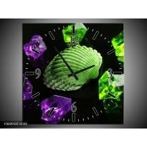 Wandklok op Canvas Spa | Kleur: Groen, Paars, Zwart | F004958C