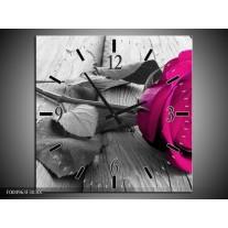 Wandklok op Canvas Roos | Kleur: Roze, Grijs | F004963C