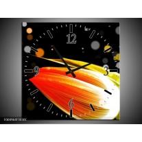 Wandklok op Canvas Tulp | Kleur: Oranje, Zwart | F004964C