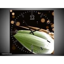Wandklok op Canvas Tulp | Kleur: Groen, Bruin, Zwart | F004970C