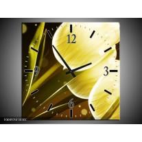 Wandklok op Canvas Tulp   Kleur: Geel, Bruin   F004976C