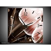 Wandklok op Canvas Tulp | Kleur: Bruin, Zwart | F004980C