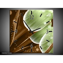 Wandklok op Canvas Tulp   Kleur: Groen, Bruin   F004982C