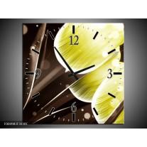 Wandklok op Canvas Tulp | Kleur: Geel, Bruin | F004983C