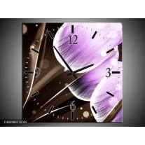 Wandklok op Canvas Tulp | Kleur: Paars, Bruin | F004984C