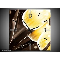 Wandklok op Canvas Tulp | Kleur: Geel, Bruin | F004987C