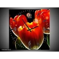 Wandklok op Canvas Tulp | Kleur: Oranje, Geel, Rood | F005000C