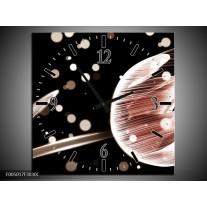 Wandklok op Canvas Tulp | Kleur: Bruin, Zwart | F005017C