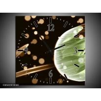 Wandklok op Canvas Tulp | Kleur: Groen, Zwart | F005019C