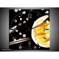 Wandklok op Canvas Tulp | Kleur: Geel, Zwart | F005024C