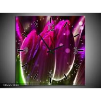 Wandklok op Canvas Tulp | Kleur: Paars, Groen | F005025C