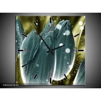 Wandklok op Canvas Tulp | Kleur: Blauw, Grijs | F005026C