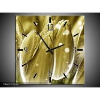 Wandklok op Canvas Tulp   Kleur: Goud, Wit   F005027C