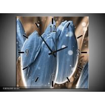 Wandklok op Canvas Tulp | Kleur: Blauw, Grijs | F005028C